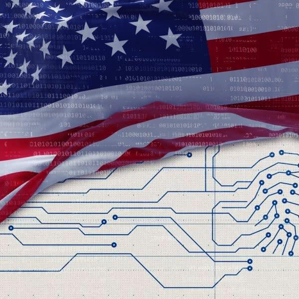 Bild: Amerikanische Flagge mit Leiterbahnen im Hintergrund