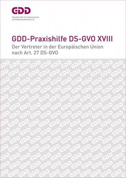 Titelseite: Praxishilfe zum «Vertreter in der Europäischen Union nach Art. 27 DS-GVO»