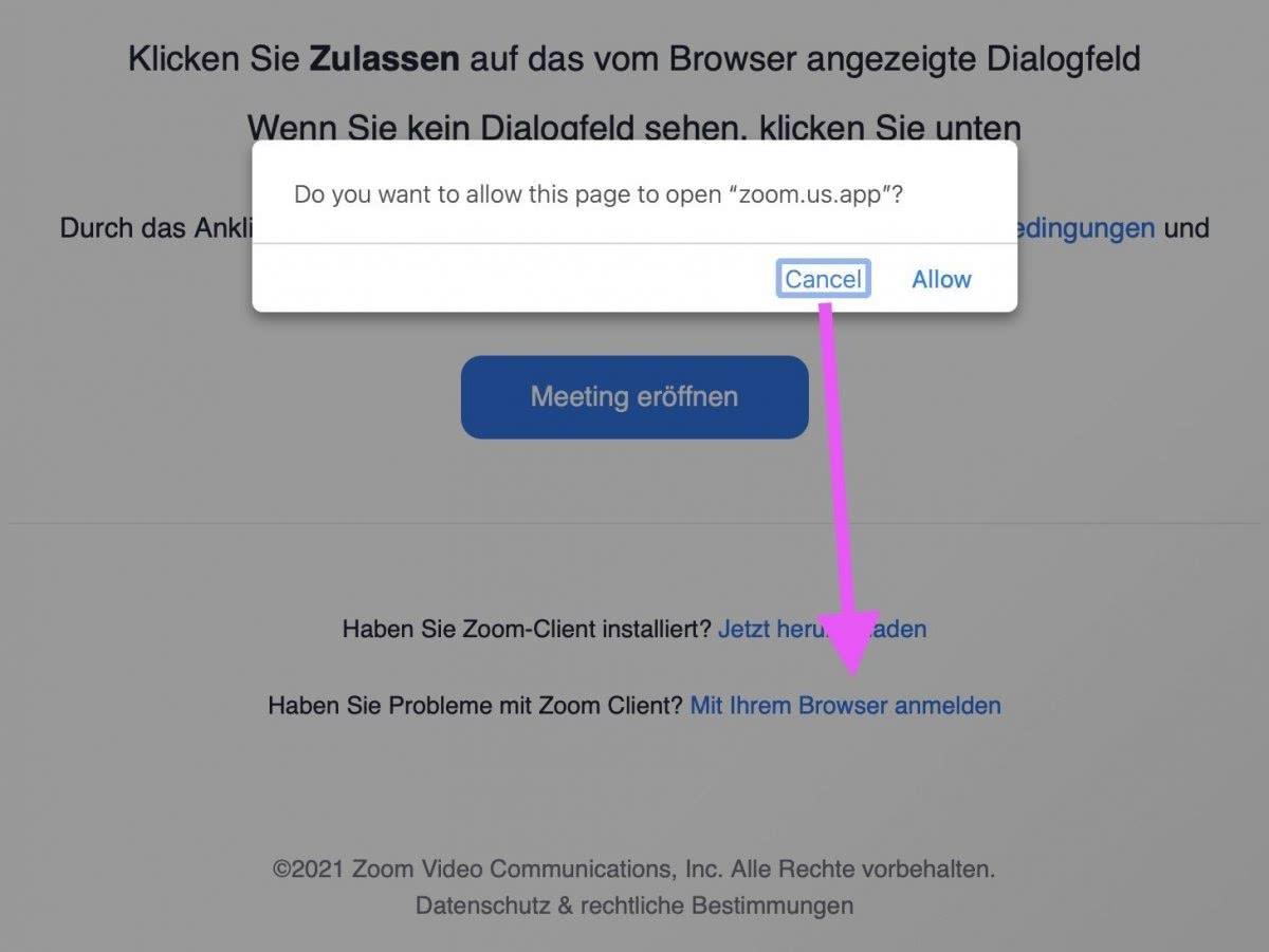 Screenshot: Zoom ohne App verwenden