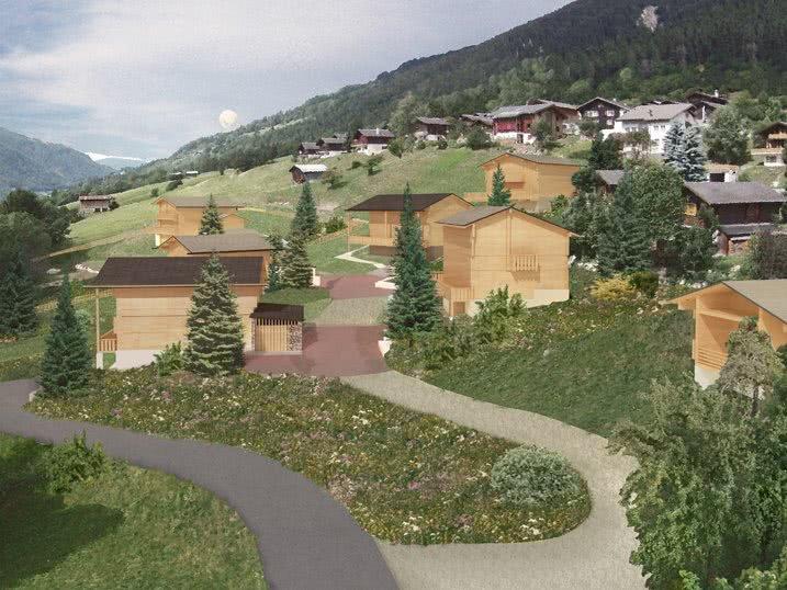 im Quartier Granacher in Fiesch, Oberwallis, entstehe bis zu 10 Mondhäuser.