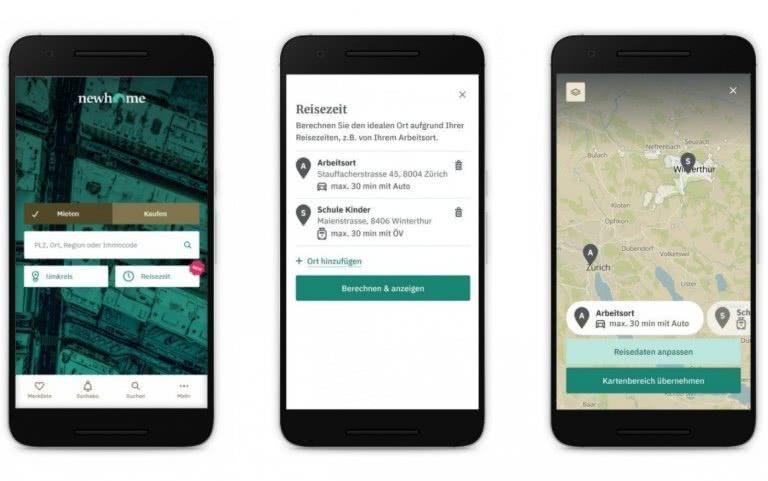 Newhome App mit neuer Reisezeit-Suche