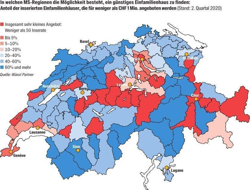 In welchen MS-Regionen der Schweiz besteht die Möglichkeit günstige Einfamilienhäuser zu finden