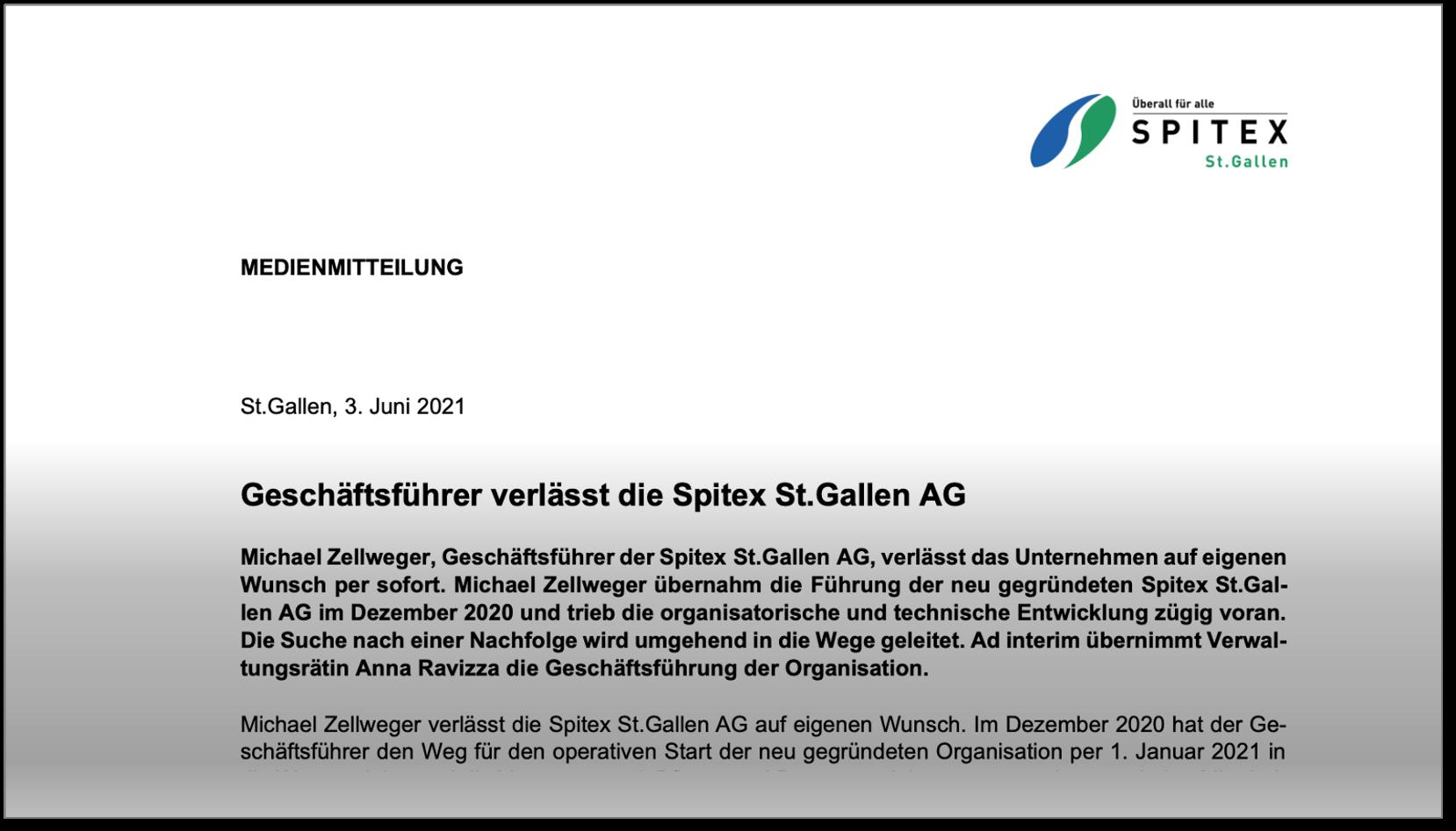 Auszug Medienmitteilung Spitex St.Gallen